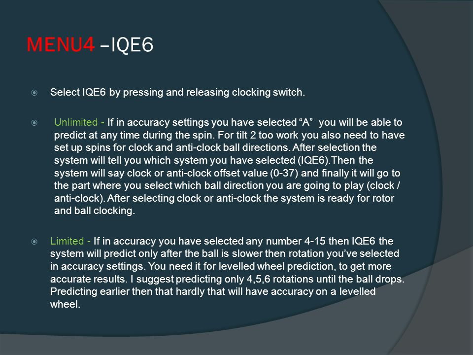 MENU3 –Tilt2  Select TILT 2 by pressing and releasing clocking switch.