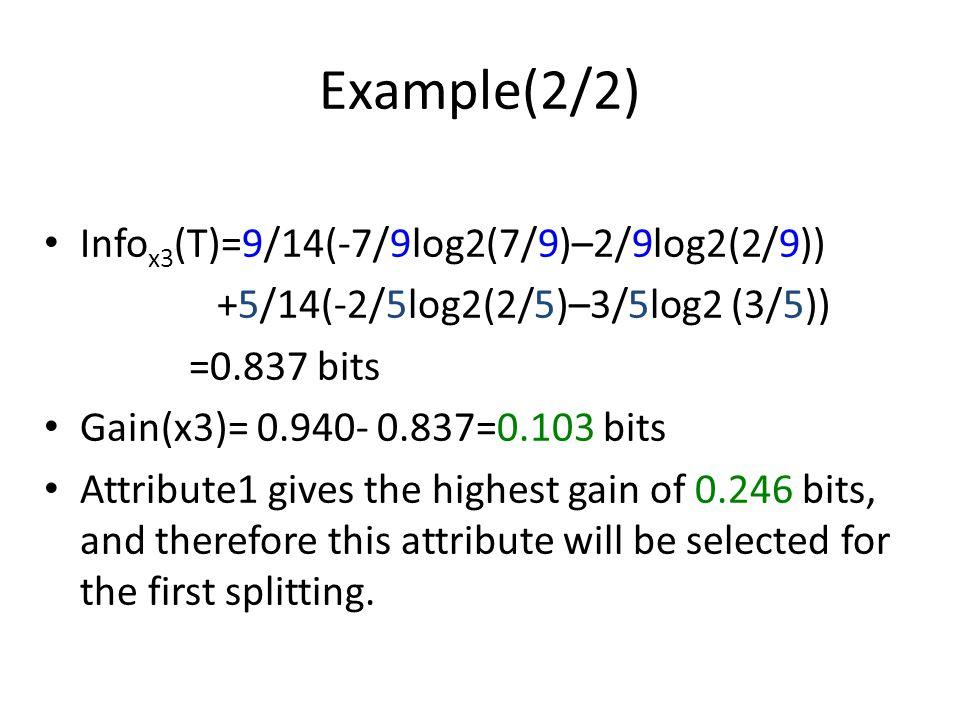 Example(2/2) Info x3 (T)=9/14(-7/9log2(7/9)–2/9log2(2/9)) +5/14(-2/5log2(2/5)–3/5log2 (3/5)) =0.837 bits Gain(x3)= 0.940- 0.837=0.103 bits Attribute1
