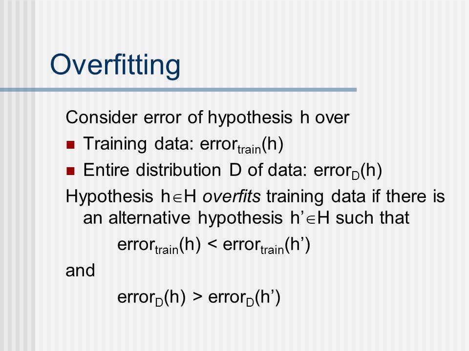 Overfitting Consider error of hypothesis h over Training data: error train (h) Entire distribution D of data: error D (h) Hypothesis h  H overfits tr