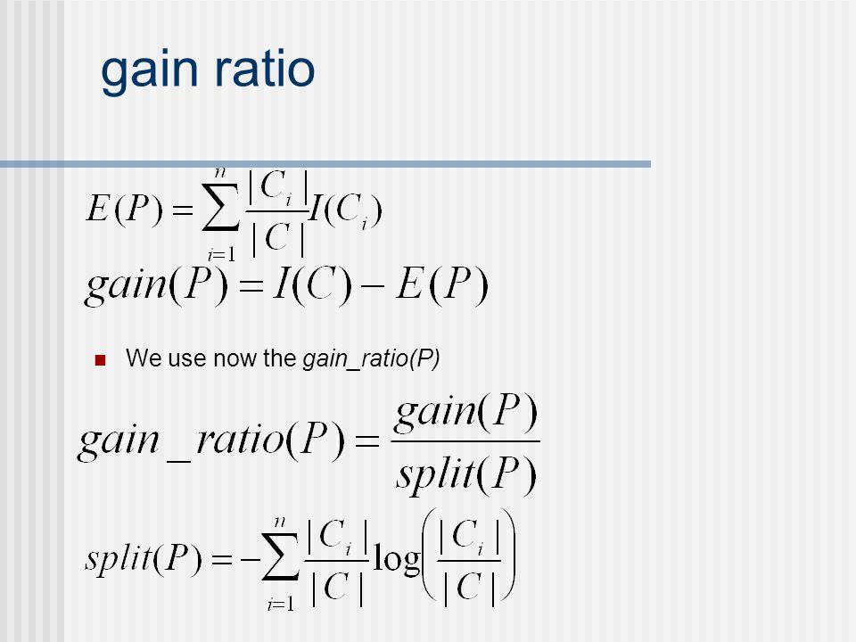 gain ratio We use now the gain_ratio(P)