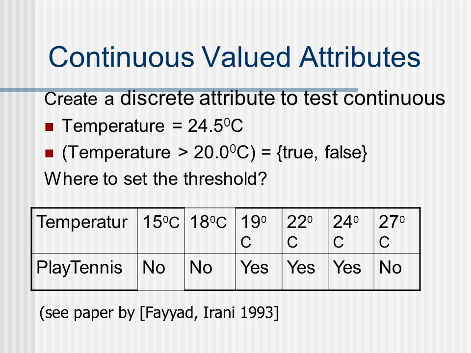Continuous Valued Attributes Create a discrete attribute to test continuous Temperature = 24.5 0 C (Temperature > 20.0 0 C) = {true, false} Where to s