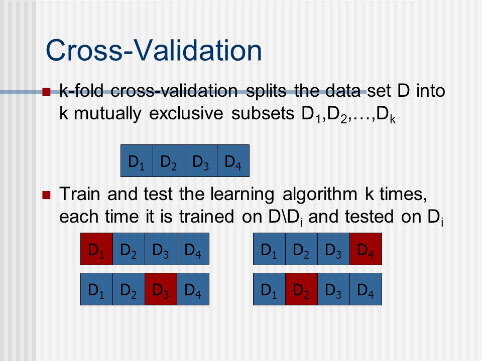 Cross-Validation k-fold cross-validation splits the data set D into k mutually exclusive subsets D 1,D 2,…,D k Train and test the learning algorithm k times, each time it is trained on D\D i and tested on D i D1D1 D2D2 D3D3 D4D4 D1D1 D2D2 D3D3 D4D4 D1D1 D2D2 D3D3 D4D4 D1D1 D2D2 D3D3 D4D4 D1D1 D2D2 D3D3 D4D4