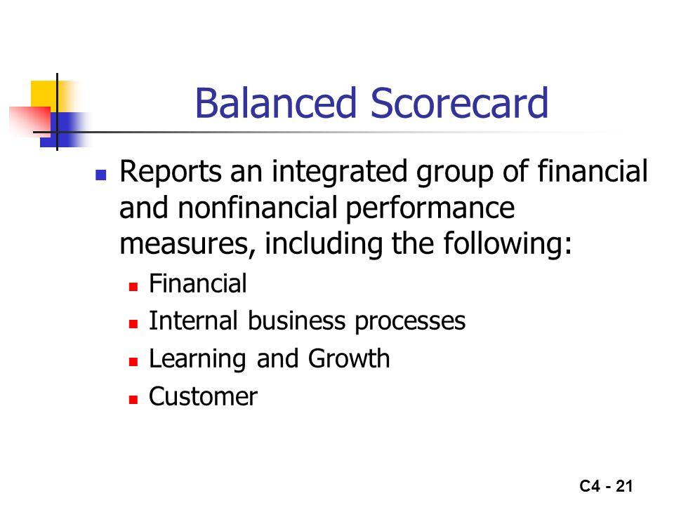 C4 - 21 Balanced Scorecard Reports an integrated group of financial and nonfinancial performance measures, including the following: Financial Internal