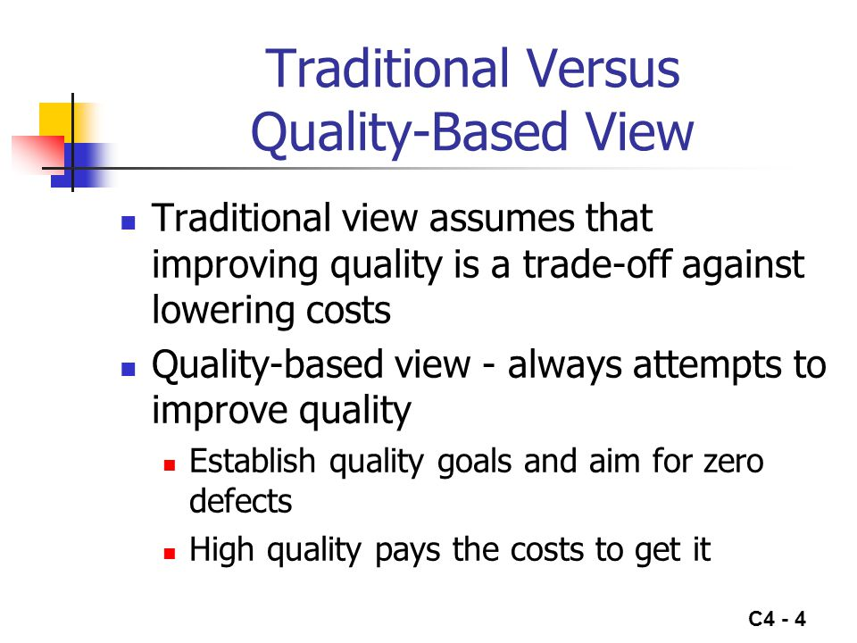 C4 - 4 Traditional Versus Quality-Based View Traditional view assumes that improving quality is a trade-off against lowering costs Quality-based view