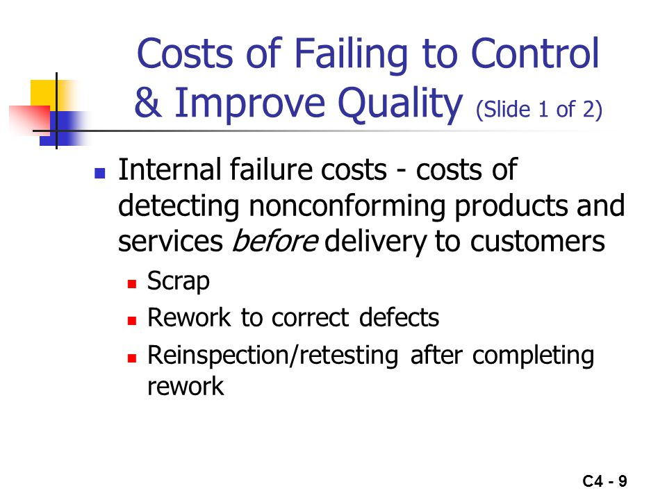 C4 - 9 Costs of Failing to Control & Improve Quality (Slide 1 of 2) Internal failure costs - costs of detecting nonconforming products and services be