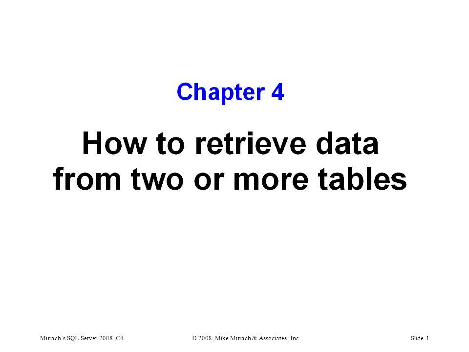 Murach's SQL Server 2008, C4© 2008, Mike Murach & Associates, Inc.Slide 1