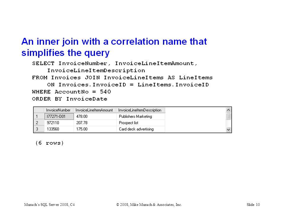 Murach's SQL Server 2008, C4© 2008, Mike Murach & Associates, Inc.Slide 10