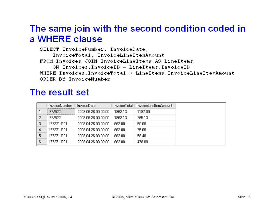 Murach's SQL Server 2008, C4© 2008, Mike Murach & Associates, Inc.Slide 15