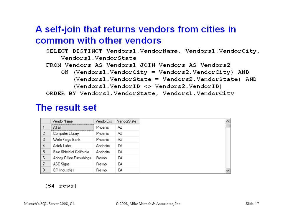 Murach's SQL Server 2008, C4© 2008, Mike Murach & Associates, Inc.Slide 17