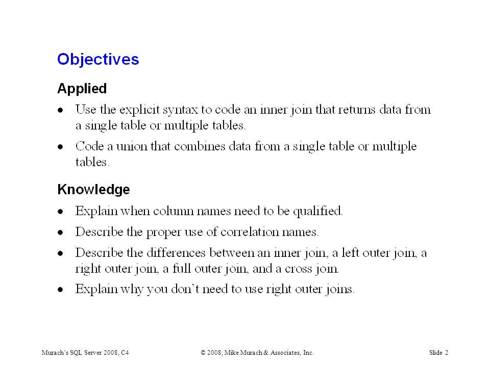 Murach's SQL Server 2008, C4© 2008, Mike Murach & Associates, Inc.Slide 13