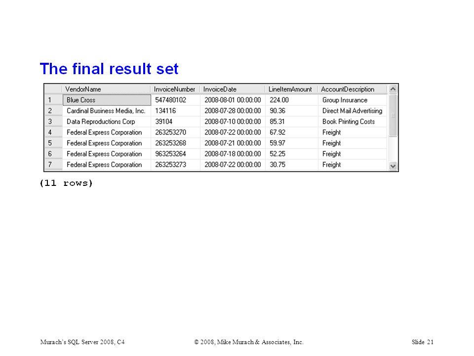 Murach's SQL Server 2008, C4© 2008, Mike Murach & Associates, Inc.Slide 21