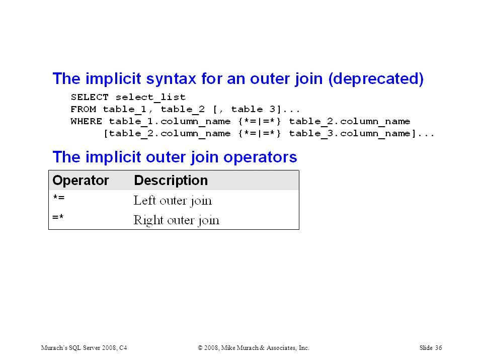 Murach's SQL Server 2008, C4© 2008, Mike Murach & Associates, Inc.Slide 36