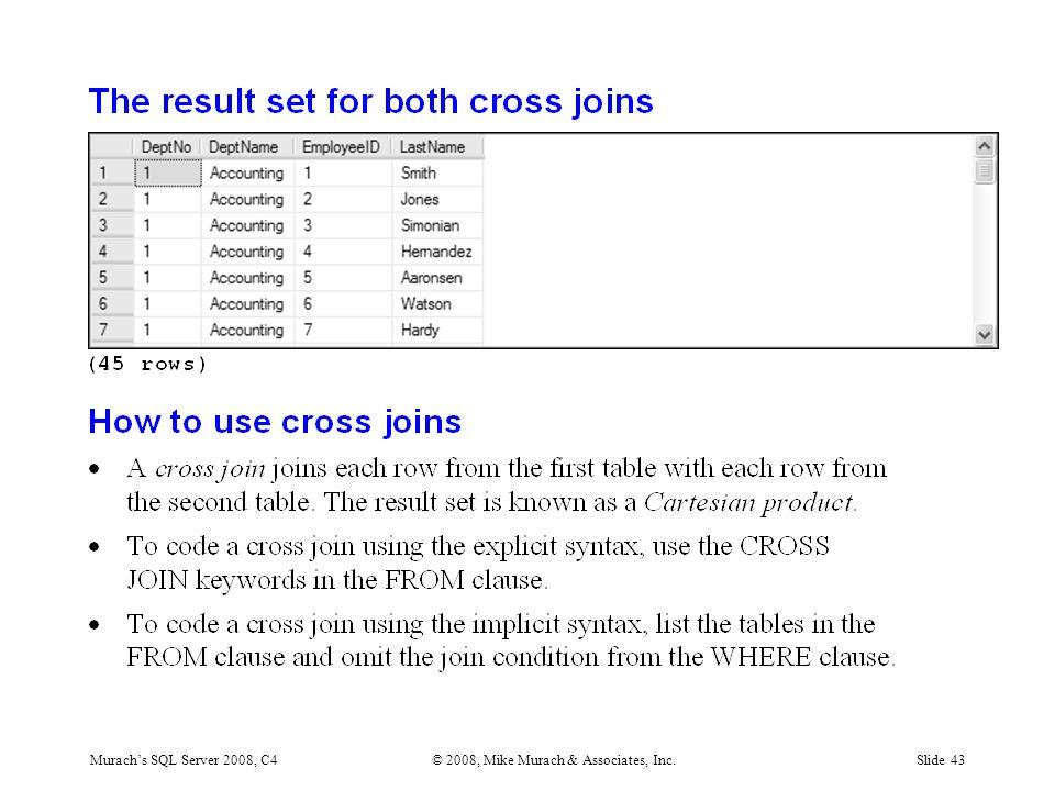 Murach's SQL Server 2008, C4© 2008, Mike Murach & Associates, Inc.Slide 43