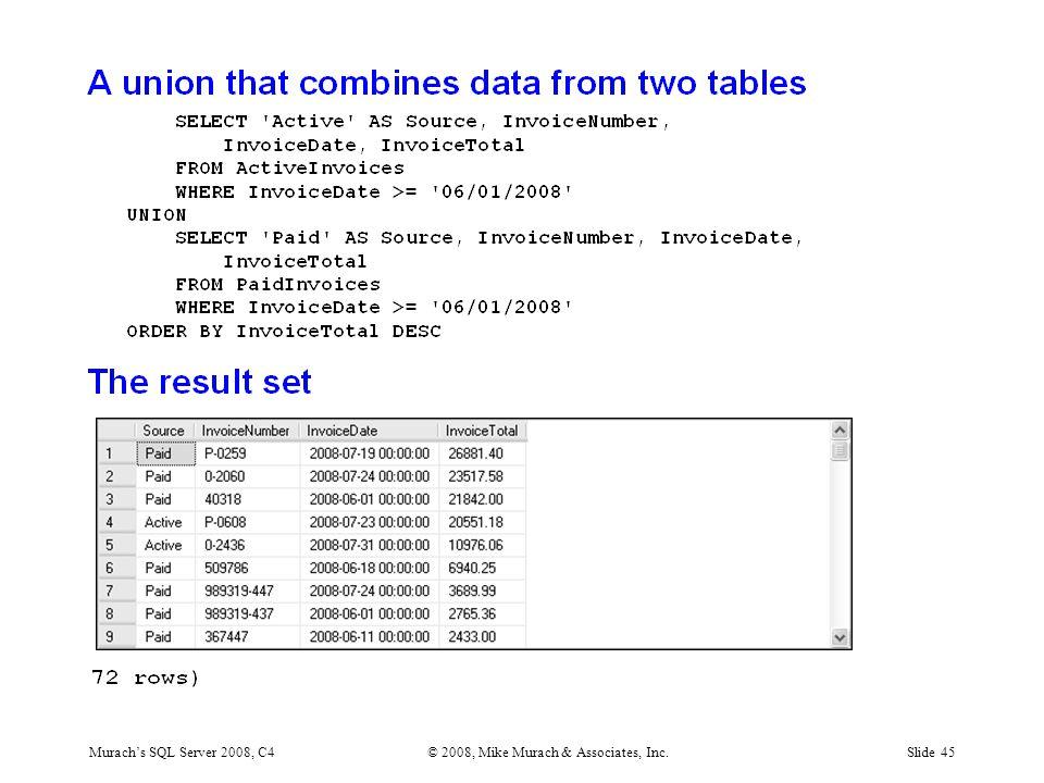 Murach's SQL Server 2008, C4© 2008, Mike Murach & Associates, Inc.Slide 45