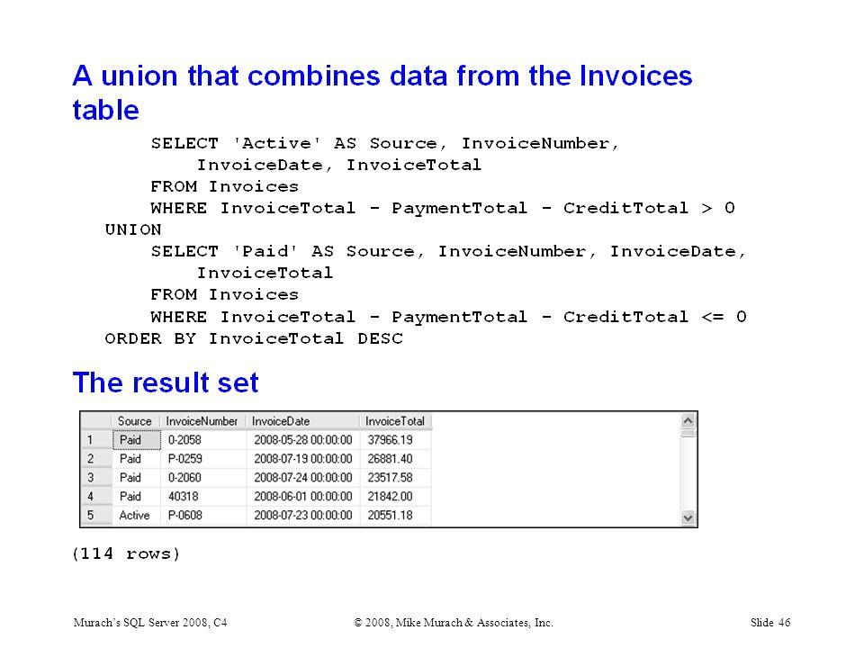 Murach's SQL Server 2008, C4© 2008, Mike Murach & Associates, Inc.Slide 46