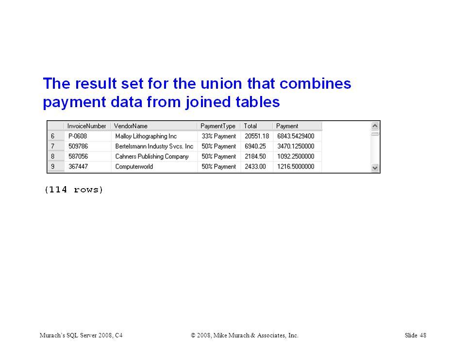 Murach's SQL Server 2008, C4© 2008, Mike Murach & Associates, Inc.Slide 48
