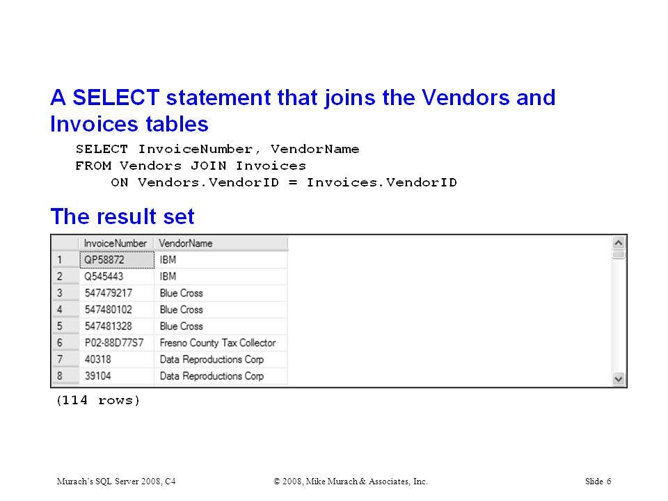 Murach's SQL Server 2008, C4© 2008, Mike Murach & Associates, Inc.Slide 37