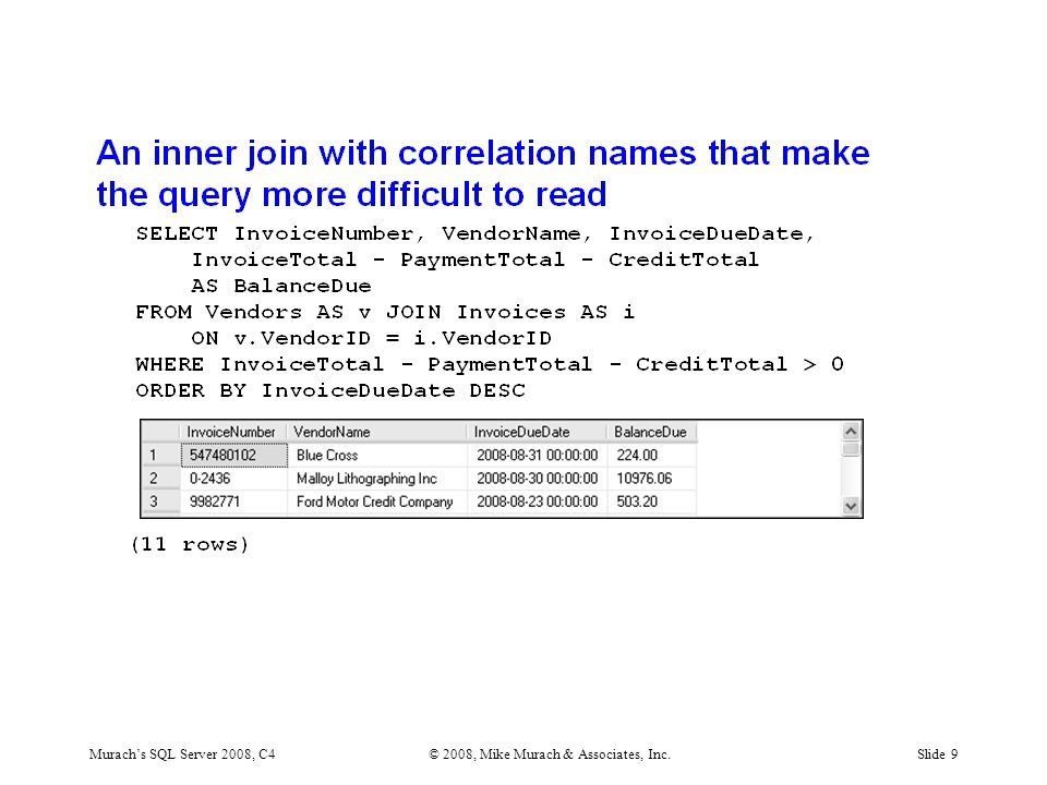 Murach's SQL Server 2008, C4© 2008, Mike Murach & Associates, Inc.Slide 9