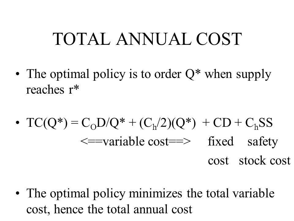 TOTAL ANNUAL COST The optimal policy is to order Q* when supply reaches r* TC(Q*) = C O D/Q* + (C h /2)(Q*) + CD + C h SS fixed safety cost stock cost