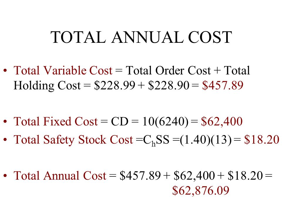 TOTAL ANNUAL COST Total Variable Cost = Total Order Cost + Total Holding Cost = $228.99 + $228.90 = $457.89 Total Fixed Cost = CD = 10(6240) = $62,400 Total Safety Stock Cost =C h SS =(1.40)(13) = $18.20 Total Annual Cost = $457.89 + $62,400 + $18.20 = $62,876.09