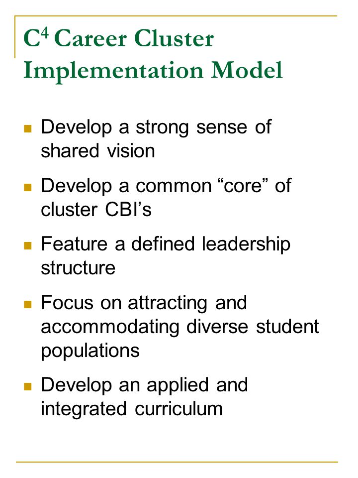 Implement classroom-based developmental career guidance Create articulation between K-12 and post-secondary education Develop work-based learning opportunities Work in partnership with business, industry, labor, and the community Provide professional development activities C 4 Career Cluster Implementation Model (Continued)