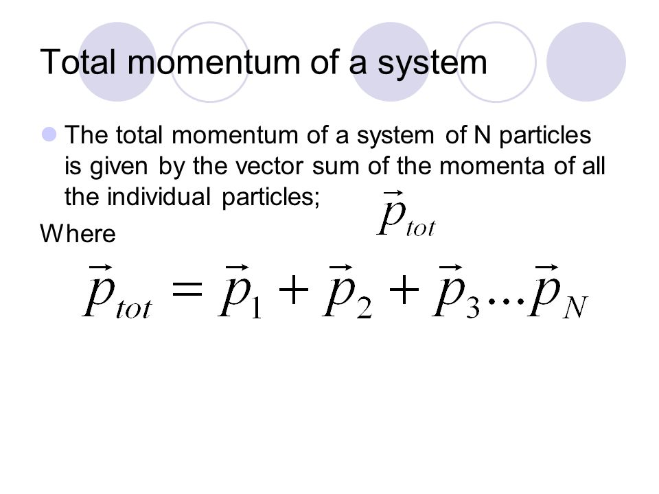 Total momentum of a system The total momentum of a system of N particles is given by the vector sum of the momenta of all the individual particles; Where