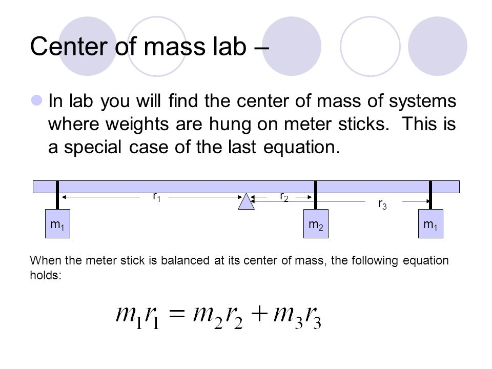 Examples Find the center of mass of the following system of particles in three dimensions.