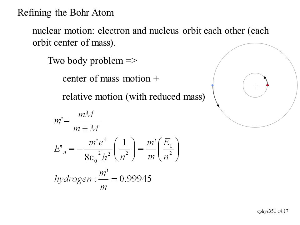 cphys351 c4:17 Refining the Bohr Atom nuclear motion: electron and nucleus orbit each other (each orbit center of mass).