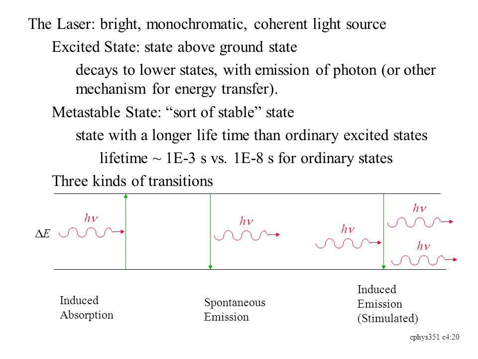 cphys351 c4:20 The Laser: bright, monochromatic, coherent light source Excited State: state above ground state decays to lower states, with emission of photon (or other mechanism for energy transfer).