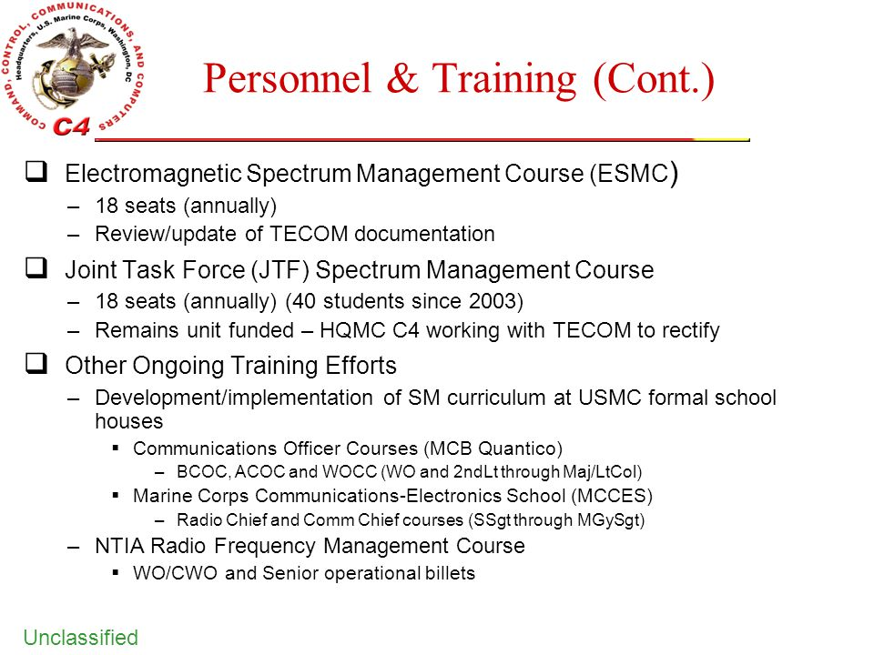 Unclassified Personnel & Training (Cont.)  Electromagnetic Spectrum Management Course (ESMC ) –18 seats (annually) –Review/update of TECOM documentat