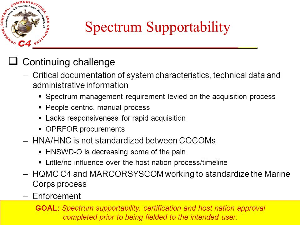 Unclassified Spectrum Supportability  Continuing challenge –Critical documentation of system characteristics, technical data and administrative infor