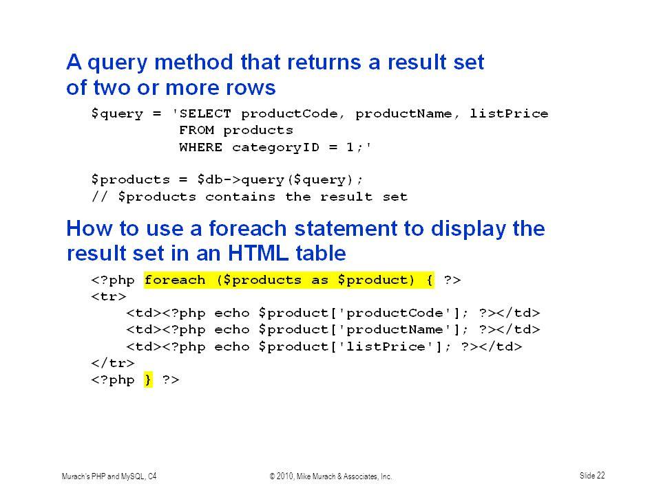 Murach s PHP and MySQL, C4© 2010, Mike Murach & Associates, Inc.Slide 22