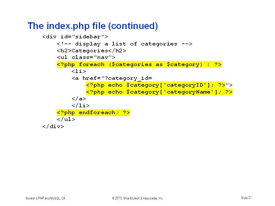 Murach s PHP and MySQL, C4© 2010, Mike Murach & Associates, Inc.Slide 31