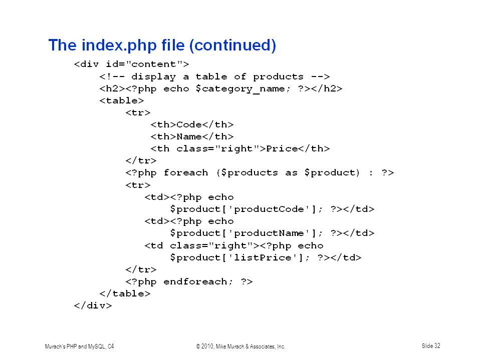 Murach s PHP and MySQL, C4© 2010, Mike Murach & Associates, Inc.Slide 32