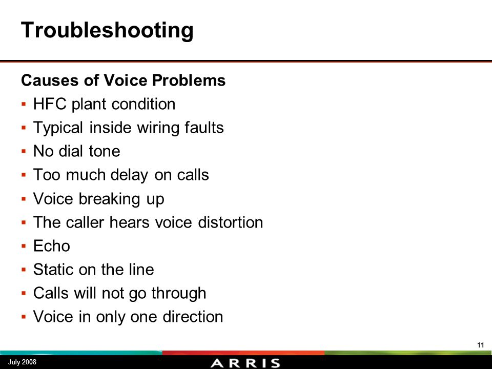 Troubleshooting Causes of Voice Problems ▪HFC plant condition ▪Typical inside wiring faults ▪No dial tone ▪Too much delay on calls ▪Voice breaking up