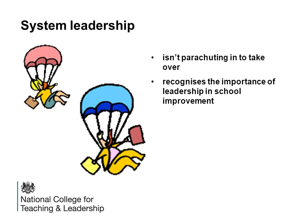 System leadership isn't parachuting in to take over recognises the importance of leadership in school improvement