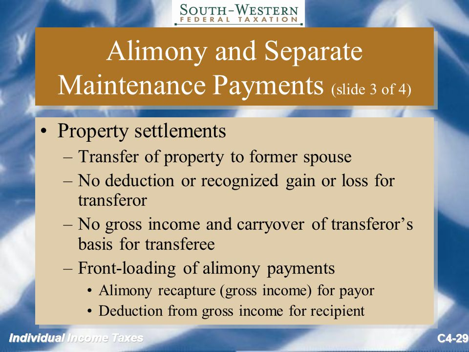 Individual Income Taxes C4-29 Alimony and Separate Maintenance Payments (slide 3 of 4) Property settlements –Transfer of property to former spouse –No deduction or recognized gain or loss for transferor –No gross income and carryover of transferor's basis for transferee –Front-loading of alimony payments Alimony recapture (gross income) for payor Deduction from gross income for recipient Property settlements –Transfer of property to former spouse –No deduction or recognized gain or loss for transferor –No gross income and carryover of transferor's basis for transferee –Front-loading of alimony payments Alimony recapture (gross income) for payor Deduction from gross income for recipient