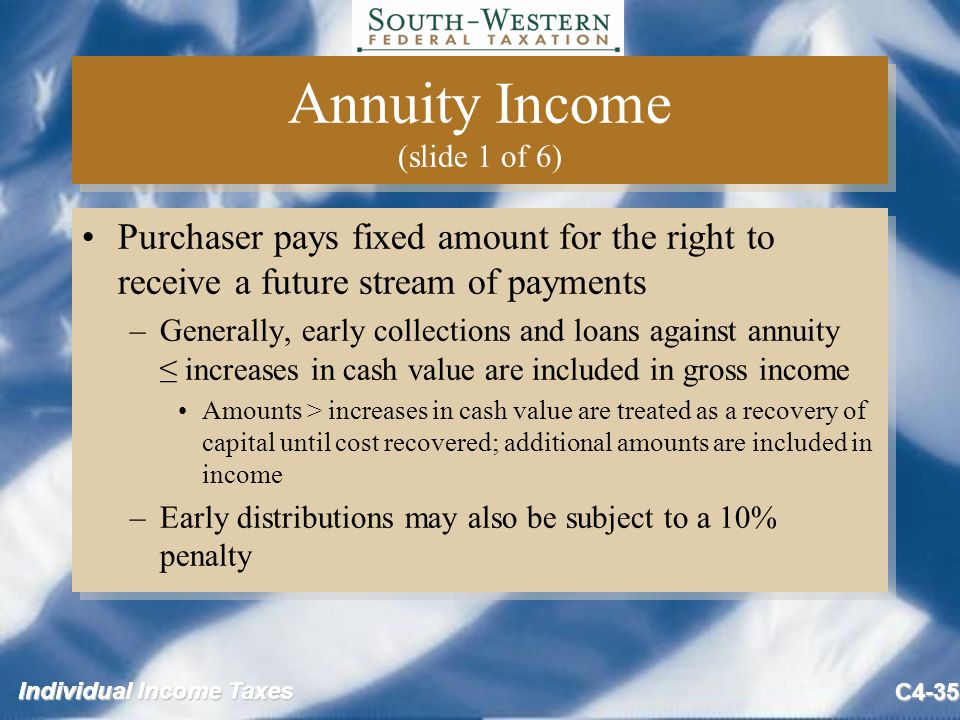 Individual Income Taxes C4-35 Annuity Income (slide 1 of 6) Purchaser pays fixed amount for the right to receive a future stream of payments –Generally, early collections and loans against annuity ≤ increases in cash value are included in gross income Amounts > increases in cash value are treated as a recovery of capital until cost recovered; additional amounts are included in income –Early distributions may also be subject to a 10% penalty Purchaser pays fixed amount for the right to receive a future stream of payments –Generally, early collections and loans against annuity ≤ increases in cash value are included in gross income Amounts > increases in cash value are treated as a recovery of capital until cost recovered; additional amounts are included in income –Early distributions may also be subject to a 10% penalty
