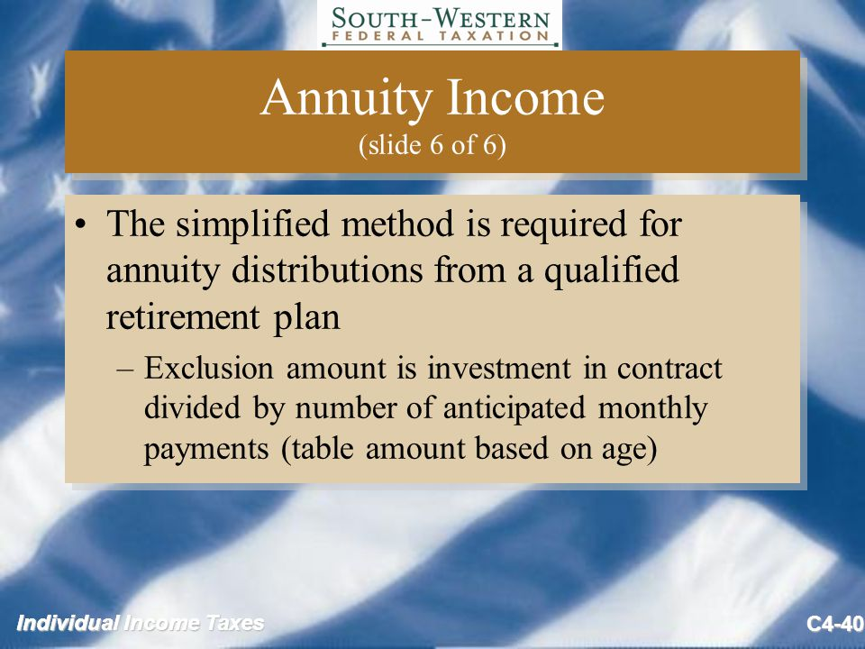 Individual Income Taxes C4-40 Annuity Income (slide 6 of 6) The simplified method is required for annuity distributions from a qualified retirement plan –Exclusion amount is investment in contract divided by number of anticipated monthly payments (table amount based on age) The simplified method is required for annuity distributions from a qualified retirement plan –Exclusion amount is investment in contract divided by number of anticipated monthly payments (table amount based on age)