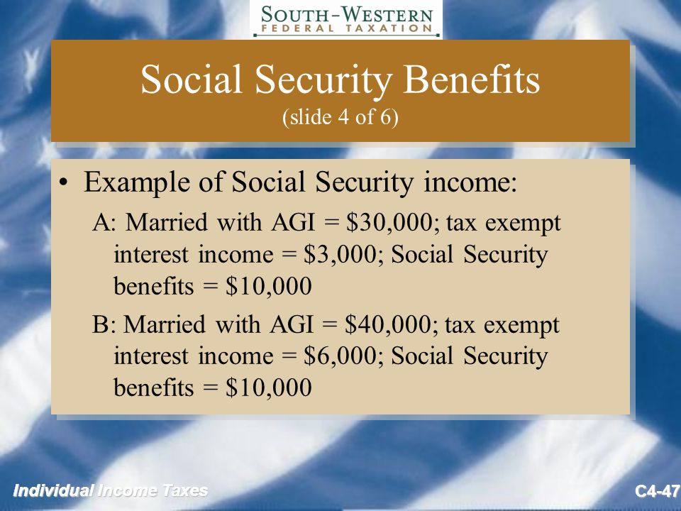 Individual Income Taxes C4-47 Social Security Benefits (slide 4 of 6) Example of Social Security income: A: Married with AGI = $30,000; tax exempt interest income = $3,000; Social Security benefits = $10,000 B: Married with AGI = $40,000; tax exempt interest income = $6,000; Social Security benefits = $10,000 Example of Social Security income: A: Married with AGI = $30,000; tax exempt interest income = $3,000; Social Security benefits = $10,000 B: Married with AGI = $40,000; tax exempt interest income = $6,000; Social Security benefits = $10,000