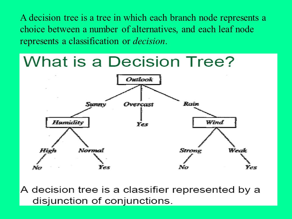 A decision tree is a tree in which each branch node represents a choice between a number of alternatives, and each leaf node represents a classification or decision.