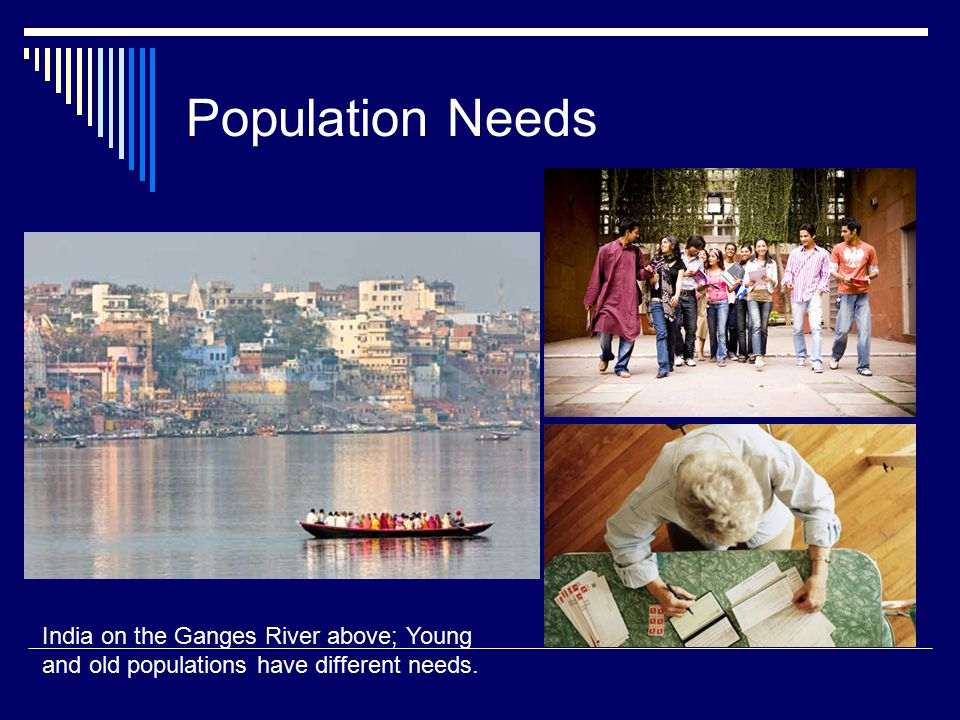 Population Needs India on the Ganges River above; Young and old populations have different needs.