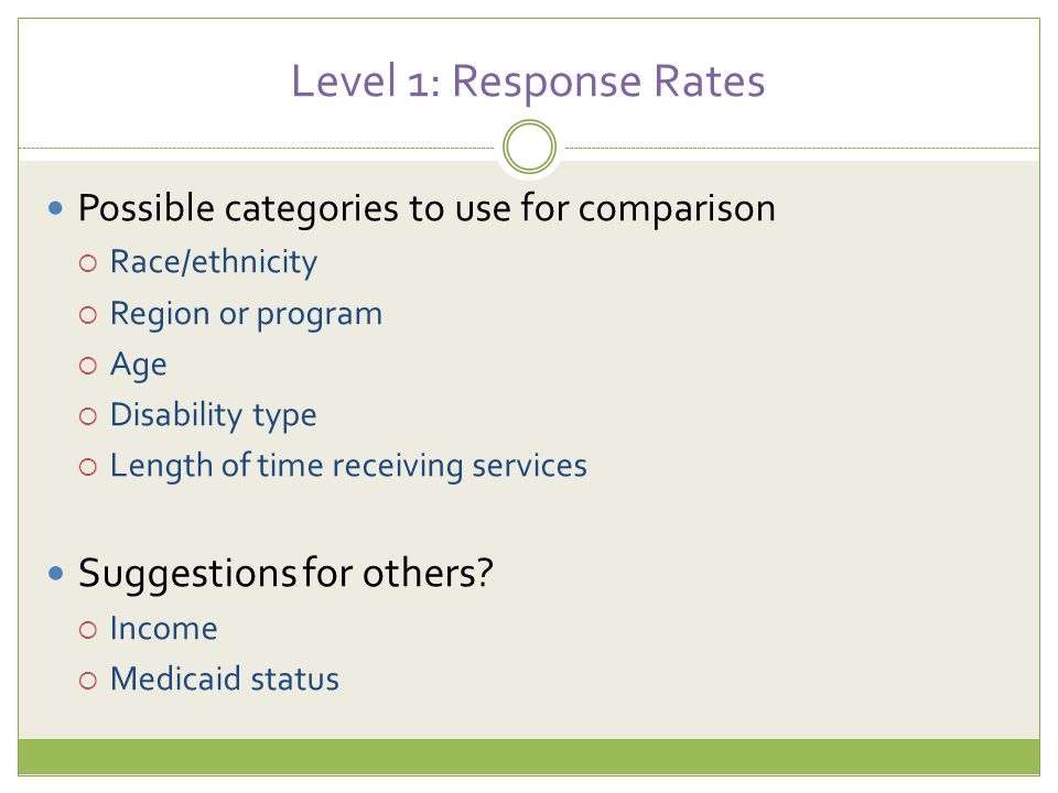 Level 1: Response Rates Possible categories to use for comparison  Race/ethnicity  Region or program  Age  Disability type  Length of time receiv