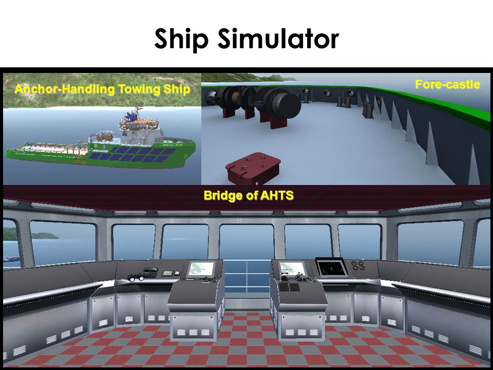 Ship Simulator Anchor-Handling Towing Ship Fore-castle Bridge of AHTS