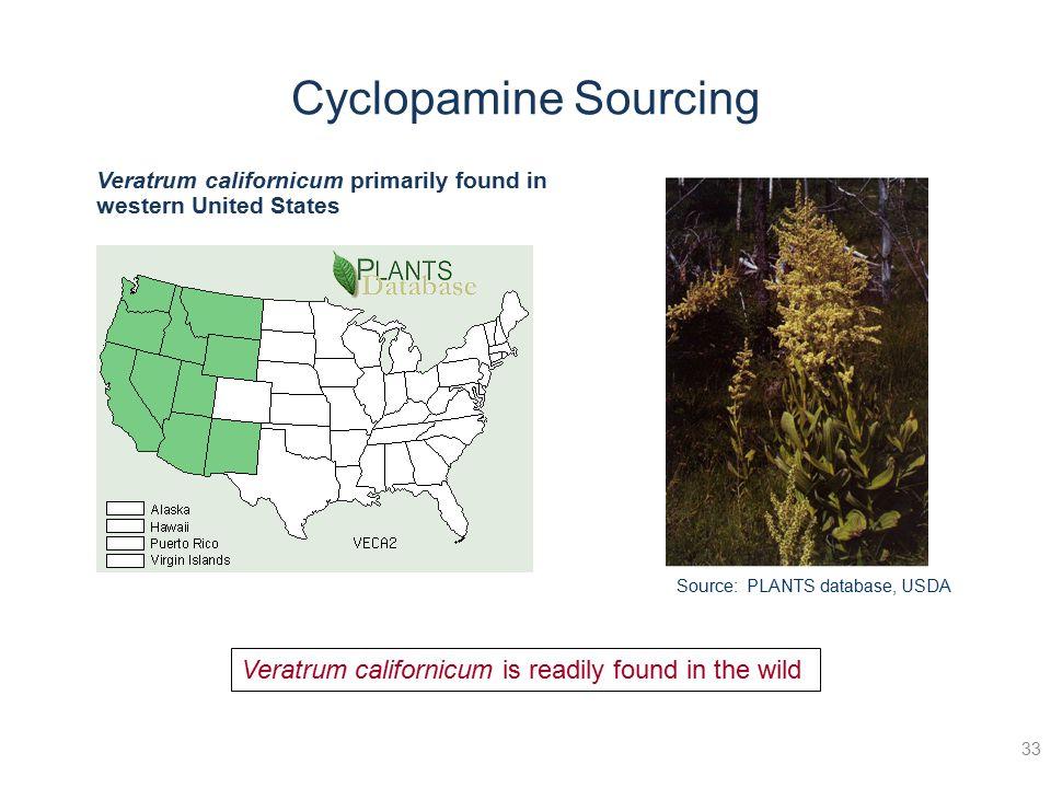 33 Source: PLANTS database, USDA Veratrum californicum primarily found in western United States Veratrum californicum is readily found in the wild Cyc