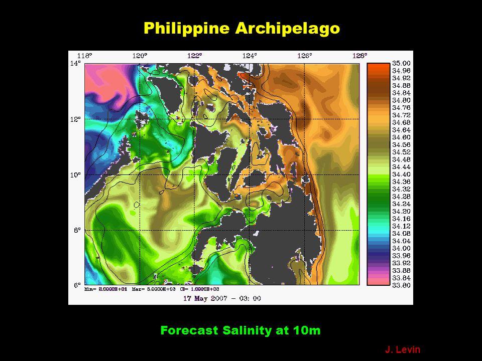 Philippine Archipelago Forecast Salinity at 10m J. Levin