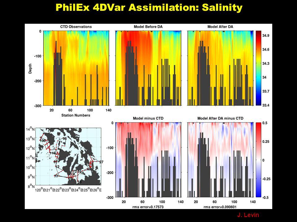 PhilEx 4DVar Assimilation: Salinity J. Levin