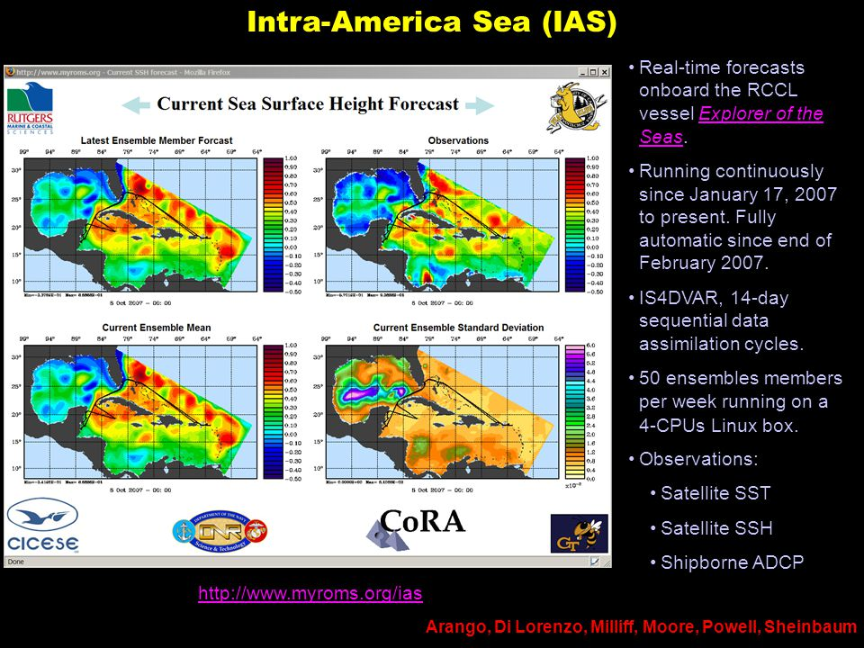 Intra-America Sea (IAS) Real-time forecasts onboard the RCCL vessel Explorer of the Seas.Explorer of the Seas Running continuously since January 17, 2