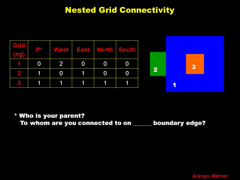 Grid (ng) P*WestEastNorthSouth 102000 210100 311111 * Who is your parent? To whom are you connected to on ______ boundary edge? 1 3 2 Nested Grid Conn