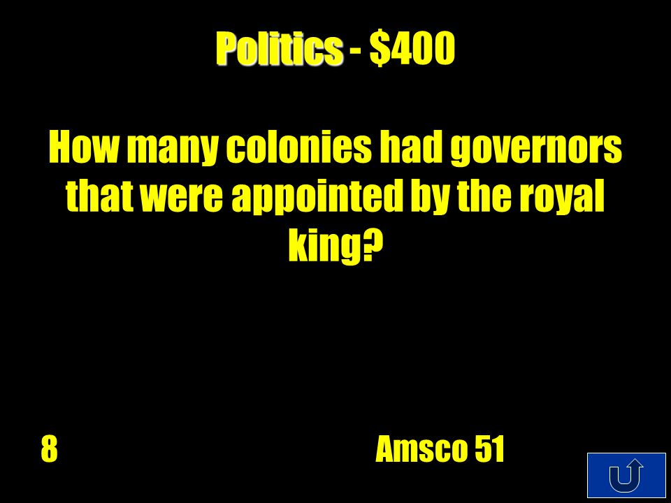 C4-$100 Politics Politics - $200 In ever colony the legislature was mad up of how many houses.